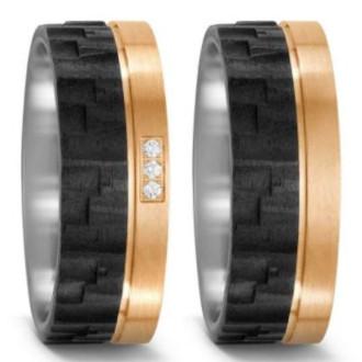 Eheringe-Tricolor-Carbon-Titan-Bronze