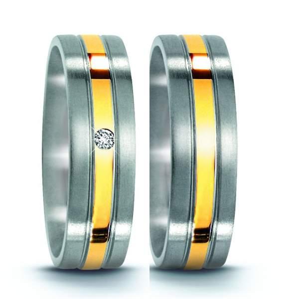 Trauringe Edelstahl Gelbgold Brillanten Titan Factory 50963_ES
