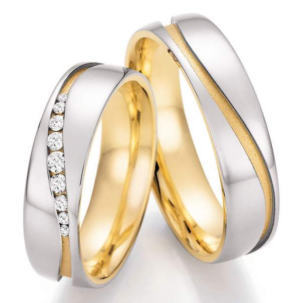 Trauringe Gold Palladium Honeymoon Solid Brillant 66-42150