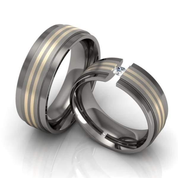 Verlobungsringe Titan Gold Zirkonia ID1336