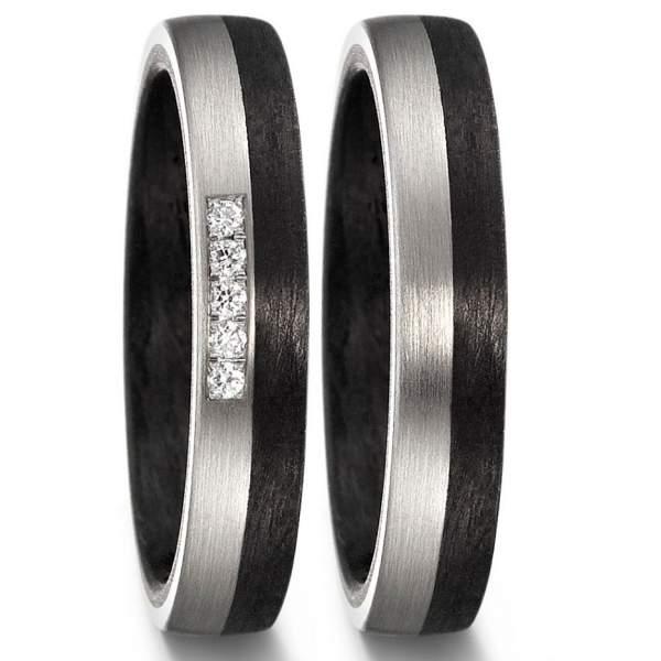 Schmale Carbon Palladium Hochzeitsringe mit 5 Steinen im Damenring