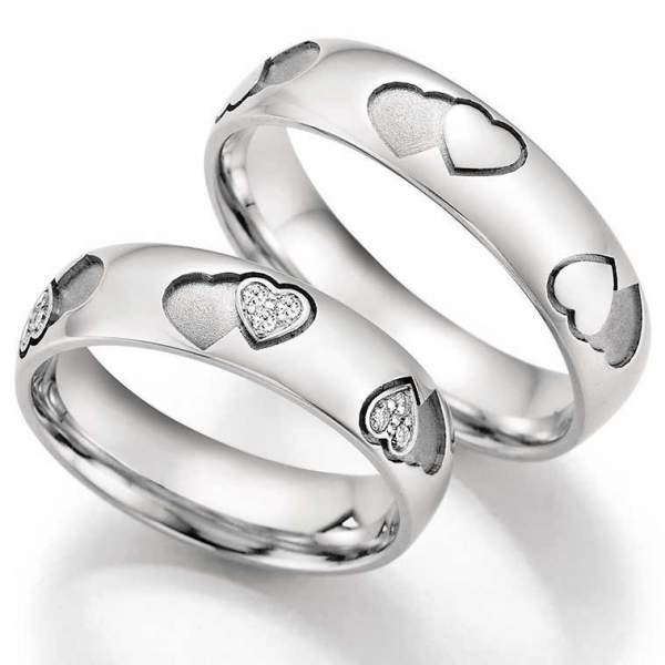 Trauringe Gold Palladium Hearts Love Infinity Brillant 66-38050