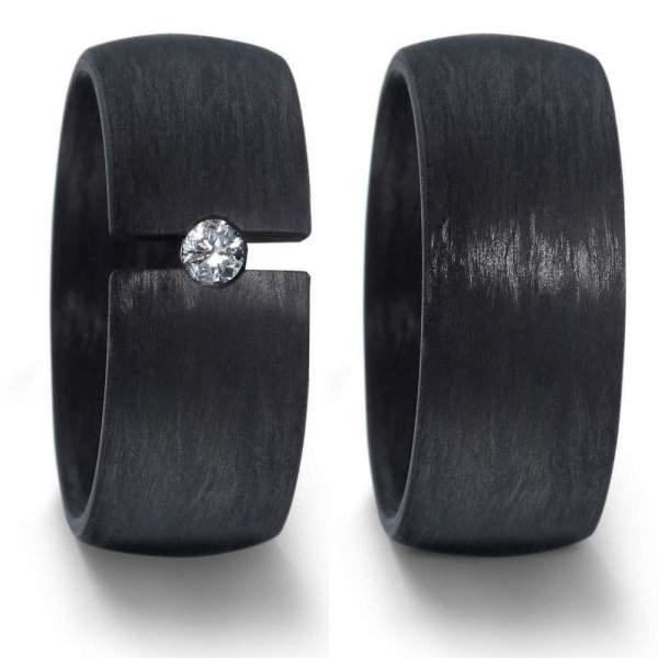 Breite Schwarze Hochzeitsringe aus Carbon mit Brillant