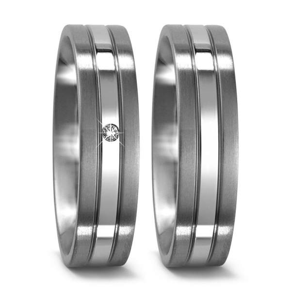 Trauringe Silber Brillanten Titan Factory 50963