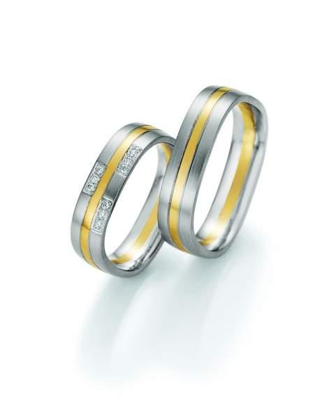 Trauringe Gold Palladium Honeymoon Quadra Brillant 66-49170_GPD