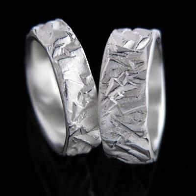 Trauringe Silber Natur im Design - Pyritkristall