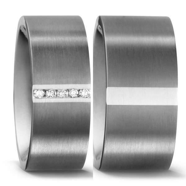 Trauringe Silber Brillant Titan Factory 51051