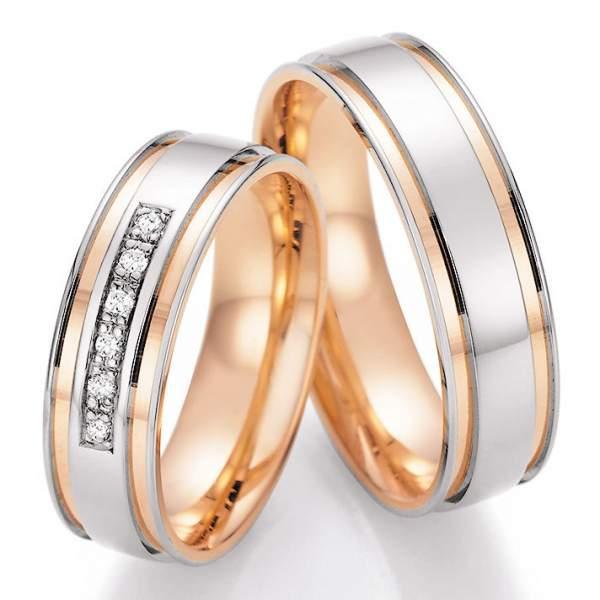 Trauringe Gold Palladium Honeymoon Solid Brillant 66-42170