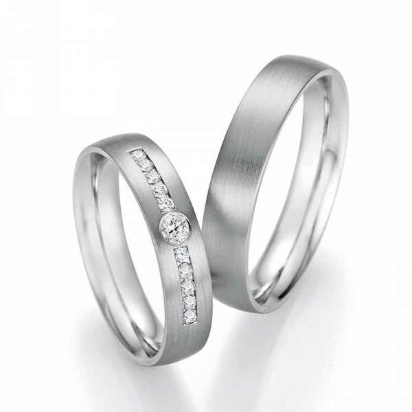 Trauringe Palladium Honeymoon Solid Brillant 66-60010