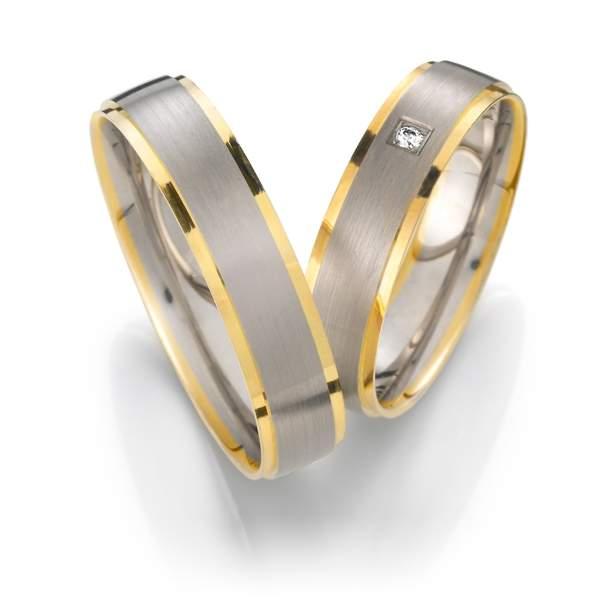 Trauringe Gelbgold Silber Brillant Weidner 62018