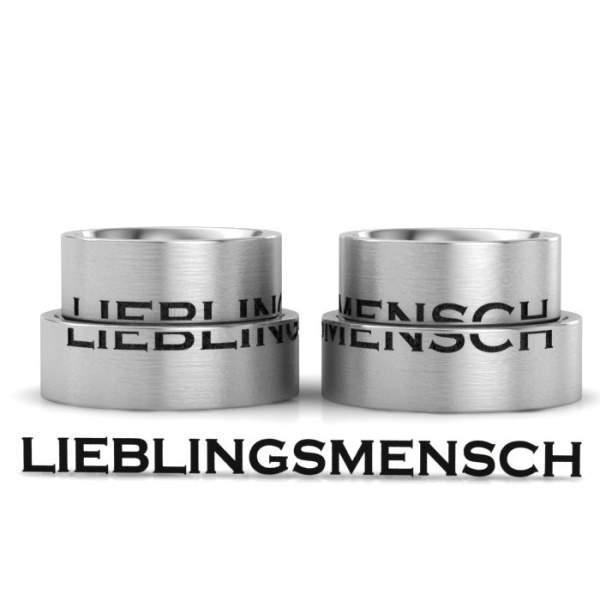 Verlobungsringe Edelstahl Gravur LIEBLINGSMENSCH