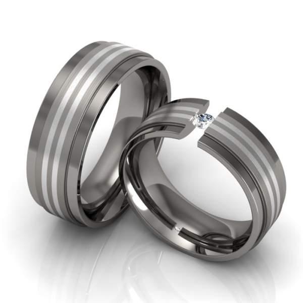 Trauringe Titan Silber Brillant ID165