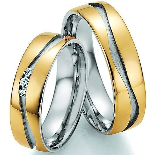 Trauringe Gold Palladium Honeymoon Solid Brillant 66-34070