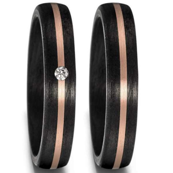 Schmale Carbon Ringe mit 585 Roségold Band und einem Brillant