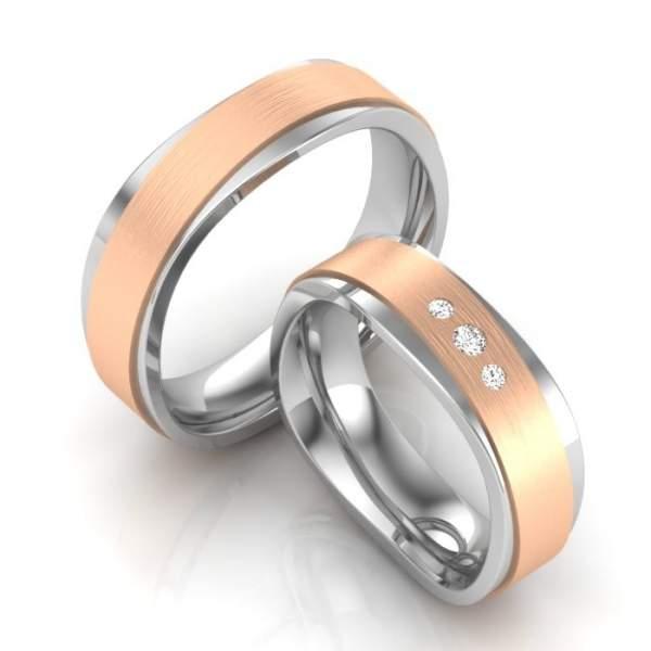 Verlobungsringe Bicolor Rotgold Edelstahl Brillant