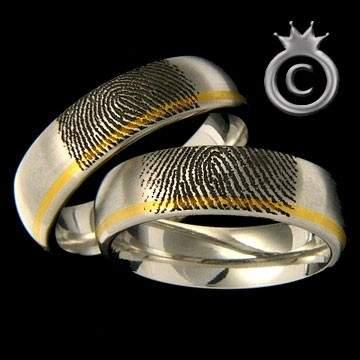 Trauringe Fingerabdruck Edelstahl Gold ID117