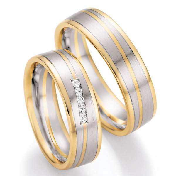 Trauringe Gold Platin Honeymoon Solid Brillant 66-42030