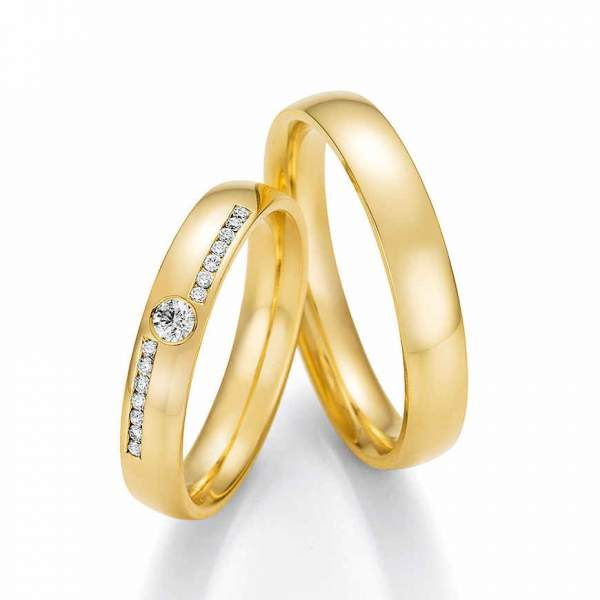 Schmale Trauringe Gelbgold Honeymoon Solid Brillant 66-60070