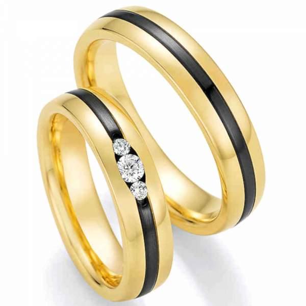Traumhafte Gelbgoldringe mit funkelnden Diamanten und Zirconium