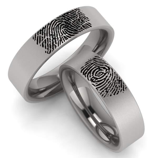 Ringe mit Fingerabdruck aus Titan 3429