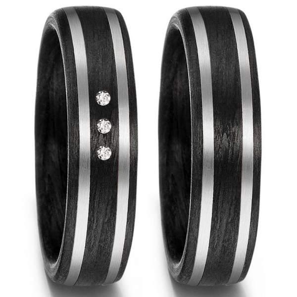 Carbon Ringe mit 2 Palladium Bändern und mittig 3 Diamanten 59353