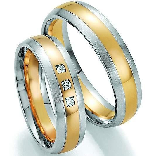 Trauringe Gold Palladium Honeymoon Solid Brillant 66-34150