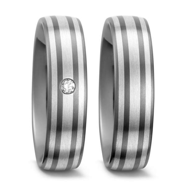 Trauringe Silber Brillant Titan Factory 50995