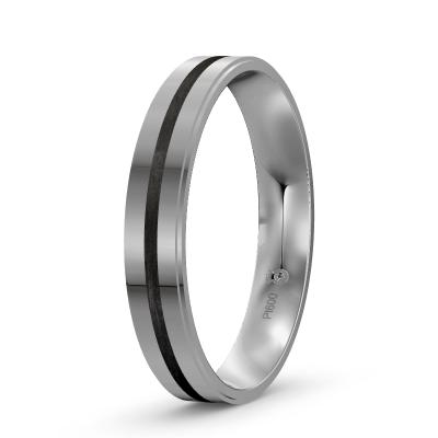 Verlobungsring für den Mann aus Platin mit Carbonfuge
