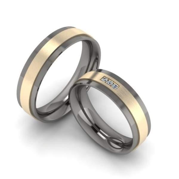 Trauringe Titan Gold Brillanten ID1361