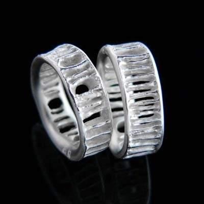 Trauringe Silber Natur im Design - Fischwirbel