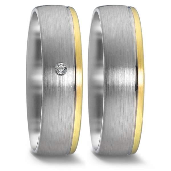 Trauringe Gelbgold Silber Brillant Weidner 61037