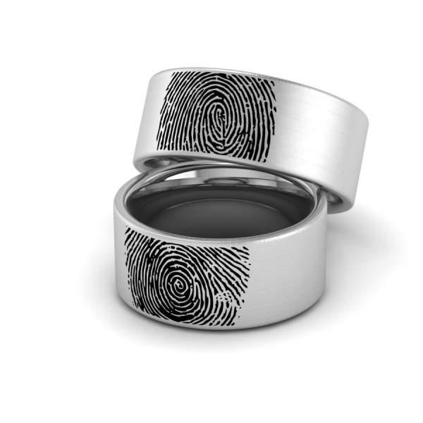 Ringe mit Fingerabdruck aussen aus Edelstahl