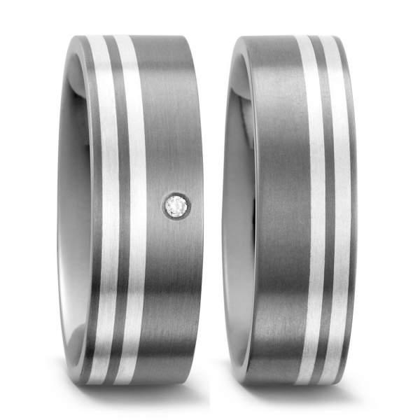 Trauringe Silber Brillanten Titan Factory 50958