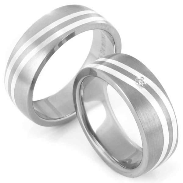 Verlobungsringe Titan Silber Brillant Cilor 20012
