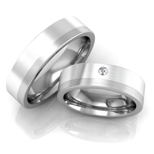 Verlobungsringe Edelstahl Silber Zirkonia ID67