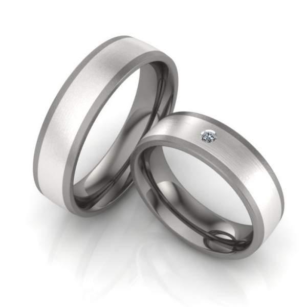 Verlobungsringe Titan Silber Brillant ID341