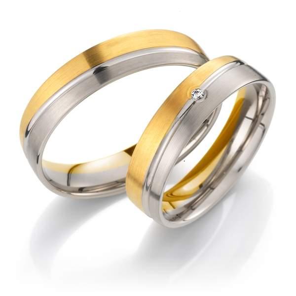 Trauringe Gelbgold Silber Brillant Weidner 62024