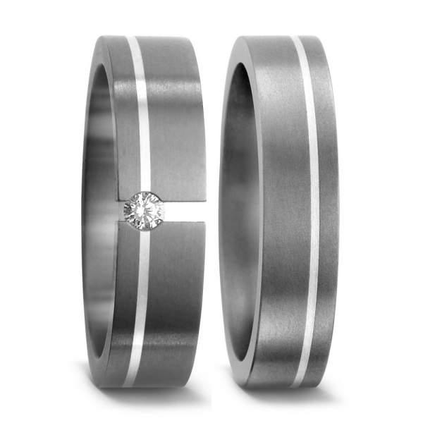 Trauringe Silber Brillant Titan Factory 51017