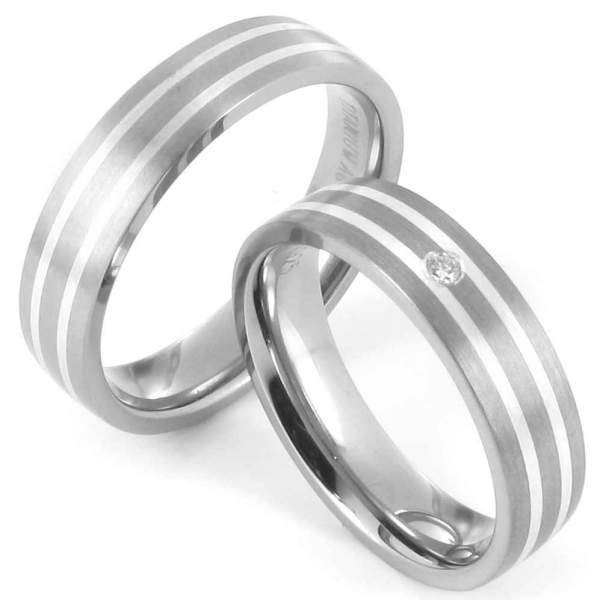 Verlobungsringe Titan Silber Brillant Cilor 20013