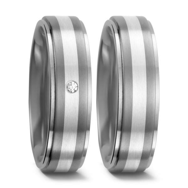 Trauringe Silber Brillanten Titan Factory 51254