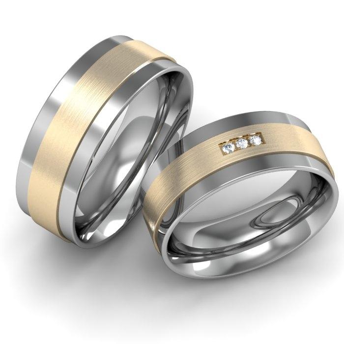Verlobungsringe Edelstahl-Gebgold mit Brillanten