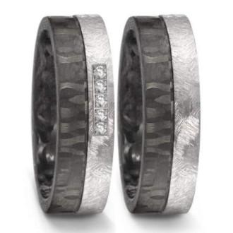 Eheringe-Schwarz-Silber-Tantal-Carbon