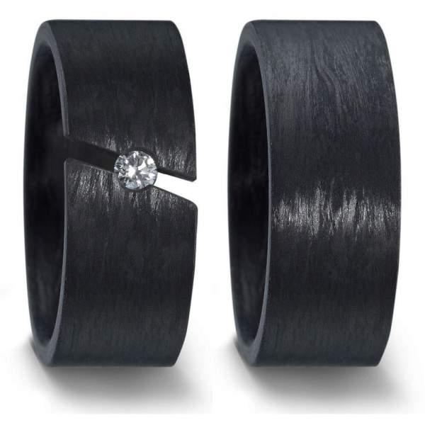 Breite schwarze Carbon Ringe Damenring als Spannring mit einem 0,10ct Brillant