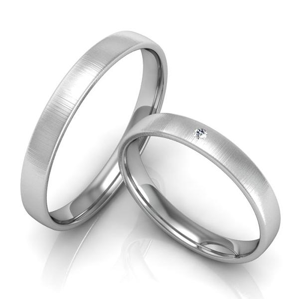 Schmale Verlobungsringe in Weißgold mit Stein