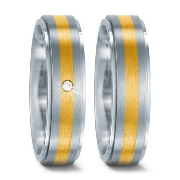 Trauringe Edelstahl Gelbgold Brillanten Titan Factory 51254_ES