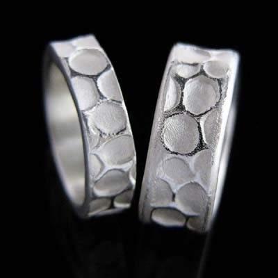 Trauringe Silber Natur im Design - Bienenwabe