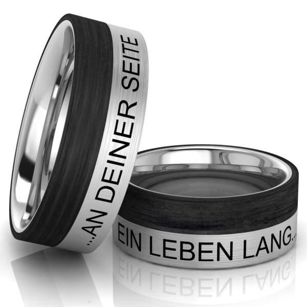 Edelstahl Verlobungsringe Carboneinlage