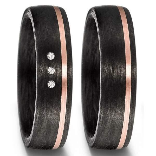 Carbon Ringe mit 14 Kt Rosegold und 3 Diamanten