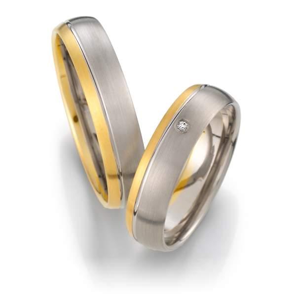Trauringe Gelbgold Silber Brillant Weidner 62038
