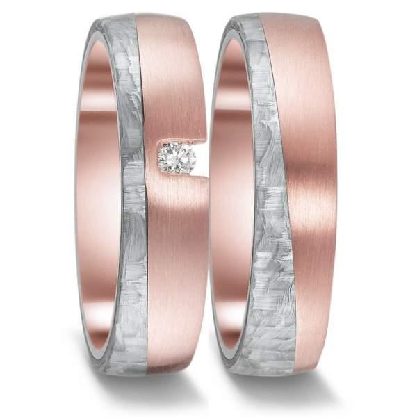 Hochzeitsring Rotgold mit Graucarbon und Diamant